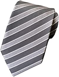 MENDENG Classic Striped Blue Yellow Jacquard Woven 100% Silk Men's Tie Necktie