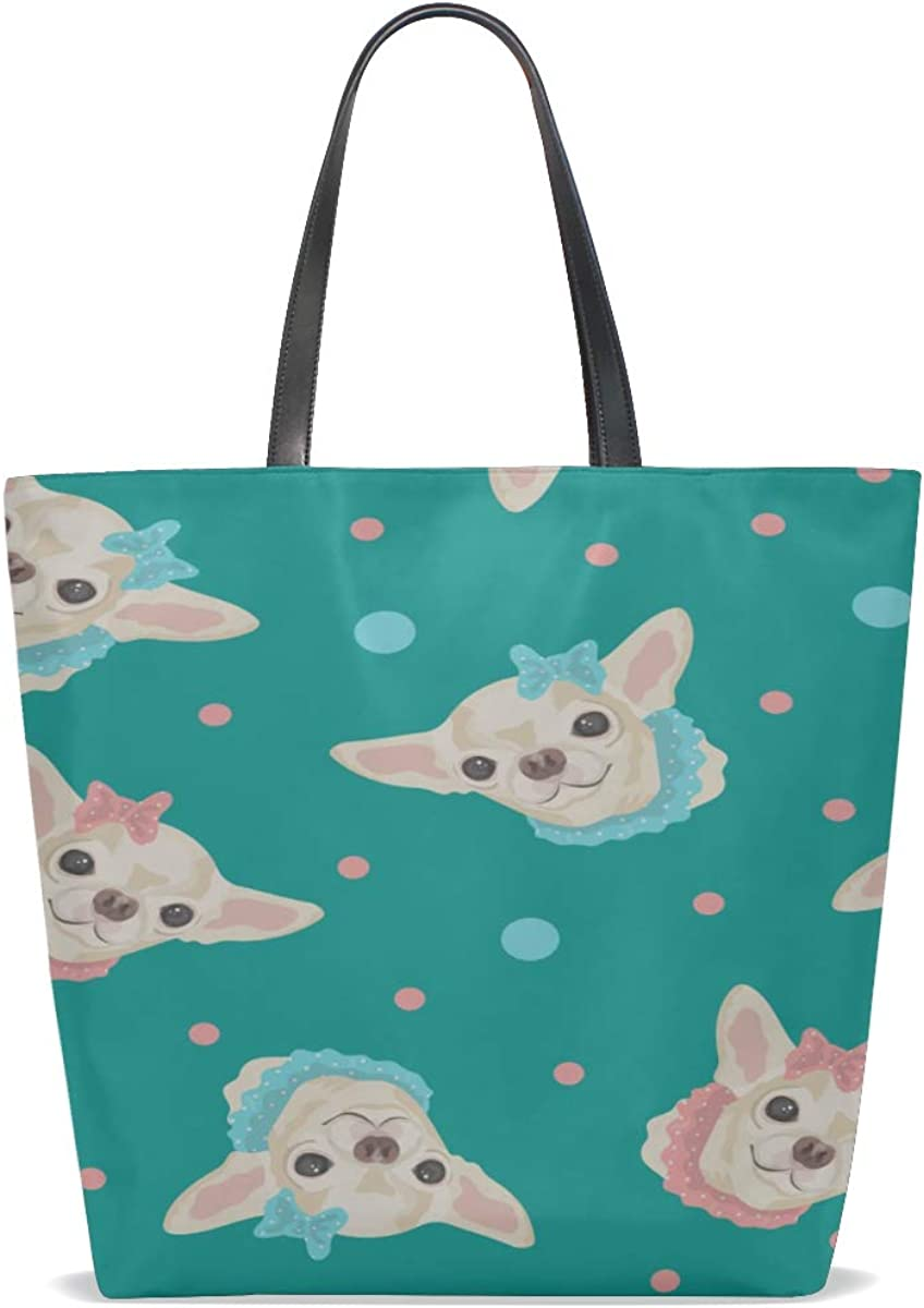 Large Tote Bags Handle Satchel Shoulder Crossbody Bag Purse Messenger Bags Totes Cartoon Cute Funny Pet Dog Chihuahua Printing Big Handbags For Women