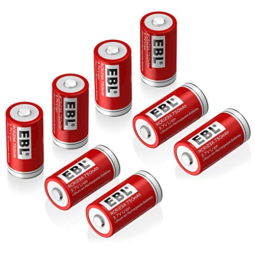 - EBL RCR123A Rechargeable Batteries (8-Pack) Li-ion 3.7V Battery for Arlo Wireless Security Cameras (VMC3030/VMK3200/VMS3330/3430/3530)