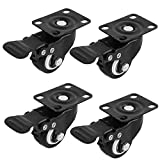 "2"" Inch Heavy Duty Swivel Caster Wheels with Brake 360 Degree Top Plate Bearing 110lbs each (Packs of 4) - black"