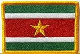 Suriname Flag Iron-on Patch Emblem Gold Border