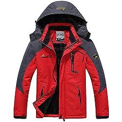 DaySeventh Men's Waterproof Windproof Rain Snow Jacket Hooded Fleece Ski Coat Red