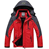 iDWZA Fashion Women Men's Autumn Winter Assault Clothing Thickened Fluffy Hooded Coat(Red,US M/CN L)