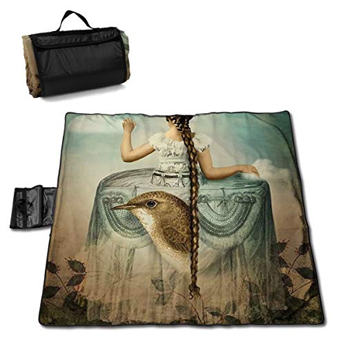BYEFLY Extra Large Picnic Blanket Waterproof Washable Picnic Mat Portable Tote for Family Camping Concert Indoor Outdoor Beach 57¡±x59¡± Western Europe Painting Braid Girl]()