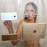 Tablet Phone Holder Clear Shower Curtain Liner Set with 12 Hooks (72x72) - Touch-sensitive Pockets to Mount Devices!