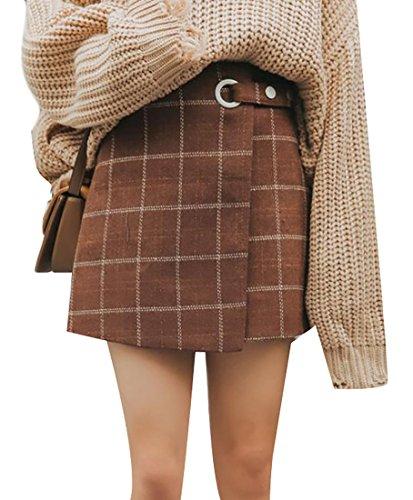 tro A Line Plaid High Waist Wool Blend Mini Skirt Coffee Small (Brown Plaid Skirt)
