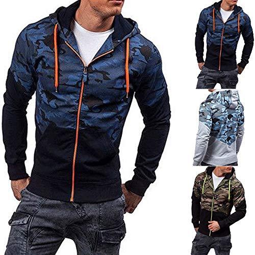 Camicetta Pullover Lunghe Maniche Blu Con Uomo Zipper Felpa Holywin Camouflage Cappuccio A 3R4AjL5