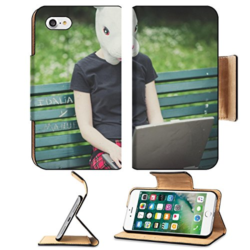 Cute And Easy Hairstyles For Halloween (Liili Premium Apple iPhone 7 Flip Pu Leather Wallet Case ID: 28630378 rabbit mask young lesbian stylish hair style woman using notebook in the city)