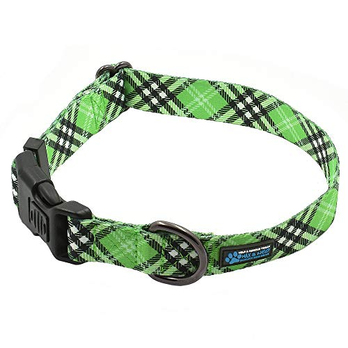 Max and Neo Plaid Pattern NEO Dog Collar - We Donate a Collar to a Dog Rescue for Every Collar Sold (Small, Green)
