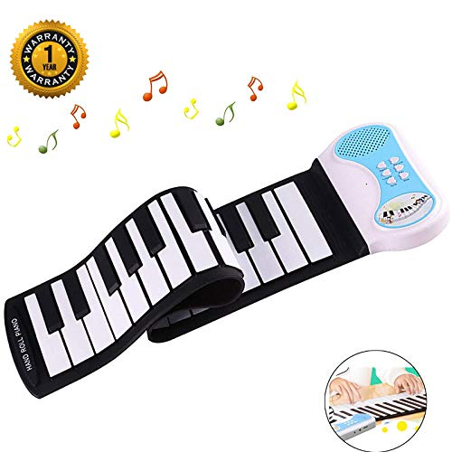 BGJOY Keyboard Piano 37 Keys, Kids Piano, Portable Electronic Kids Keyboard Piano Educational Toy, Digital Music Piano Keyboard with Microphone, Roll Up Piano for Kids Girls Boys Beginners