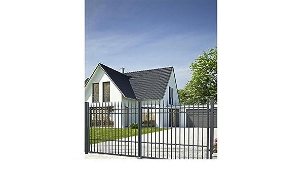 Puerta de entrada SO74, puerta de doble hoja para jardín, porto con juego de cerrojo, 350 x 160 cm, juego completo con 2 puertas, 2 postes de acero y herrajes. El ancho