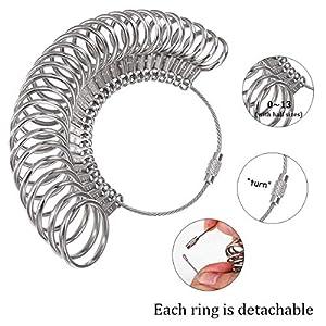 DoGeek Ring Sizer Measuring Tool Set Metal Ring Sizers Stainless Steel Ring Gauges Finger Sizer & Ring Mandrel Aluminuml (Size 1-13), 27 Pcs (Ring Sizer Set) (Color: Ring Sizer Set)