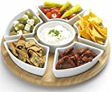 Occasion Lazy Susan Rotating or Revolving Dip Set Snack Bowl Serving Platter with Ceramic Dishes