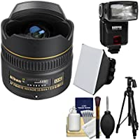 Nikon 10.5mm f/2.8G ED DX AF Fisheye-Nikkor Lens with iTTL Flash + Soft Box + Tripod + Kit