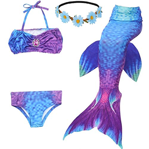(2019 New Girls Swimsuit Mermaid Tails for Swimming Princess Bikini Bathing Suit Set Children's Day for 3-12Y(No Monofin))