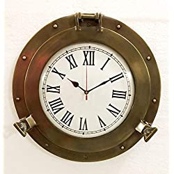 Vintage Navigation Marine Brass Ship Porthole Clock 15'' Ship Window Wall Clock