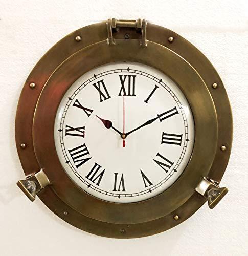 (Vintage Navigation Marine Brass Ship Porthole Clock 15'' Ship Window Wall Clock)
