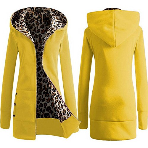 Sleeve Sweatshirt Front Long COMVIP Yellow Open Warm Hoodies Women Fleece 61pFqH