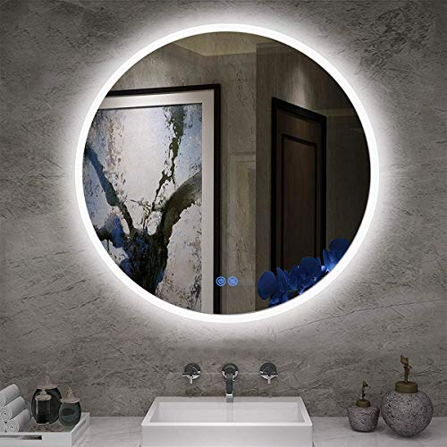 ISTRIPMF Bathroom LED Lighting Mirror R24' with Anti-Fog Function Wall Mounted Backlit Thickness 5MM Round Dimmable Touch Button 6000k(Cold White) Makeup Vanity Mirror Over Cosmetic Bathroom Sink