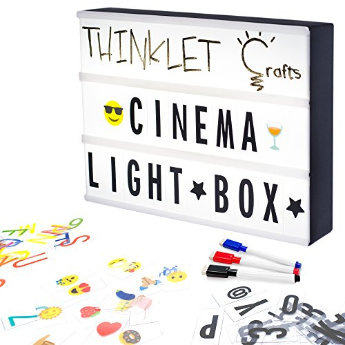 Thinklet Crafts DIY Cinema LED Light Box with 271 Letters, Numbers, Emojis, 3 Erasable Markers & 10 Drawing Tiles - Cinematic Light Box A4 Size | Easy to Customise Light Up Marquee Sign