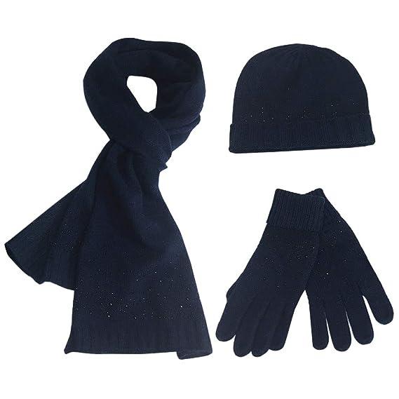 FEOYA Femme Ensemble Bonnet Echarpe Gants en Acrylic Hot Drilling Chic  Confortable - Bleu foncé  Amazon.fr  Vêtements et accessoires 9b92c9e00ed