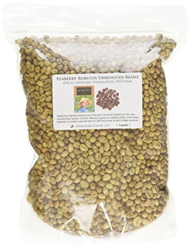Dalat Peaberry Robusta Unroasted Green Coffee Beans, 3 Pounds by Heirloom Coffee LLC