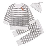 Newborn 3pcs Set Outfit Striped Hoodies with Pocket Top+Striped Long Pants (70(3-6M0))