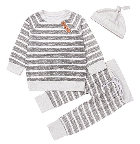 Newborn 3pcs Set Outfit Striped Hoodies with Pocket Top+Striped Long Pants (60(0-3M))