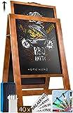Chalk Board A-Frame Chalkboard Sign - Blackboard Chalk 40 x 22 Chalk Boards with Frame - Menu Board A Frame Sign Board Sandwich Board Sidewalk Sign Large Chalkboard Easel Brown Chalkboard Signs