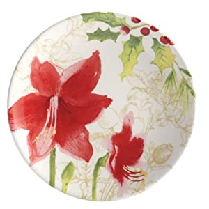 Paula Deen Signature Dinnerware Holiday Floral Collection 4-Piece Dessert Plate