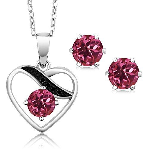 1.27 Ct Pink Tourmaline Black Diamond Rhodium Plated Heart Pendant Earrings Set by Gem Stone King