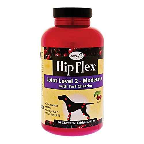 NaturVet Overby Farm Hip Flex Level 2 Moderate Care with Tart Cherries Joint Support Supplement for Dogs, Chewable Tablets, Made in The USA, 120 Count
