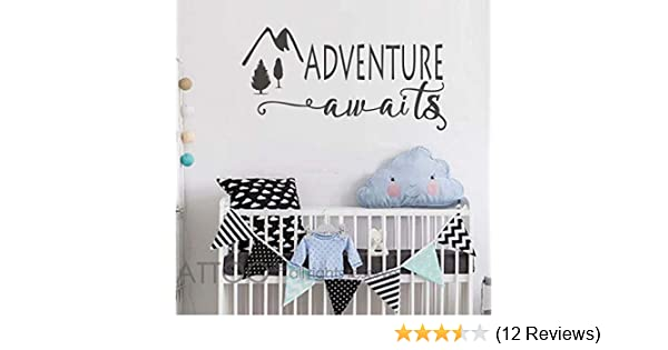 Black, 50WX25.5H Adventure Quotes Travel Theme Wall Decor 50WX25.5H Mountain Wall Decal Bedroom Decor BATTOO Adventure Awaits Wall Decal Stickers Wanderlust Wall Decal