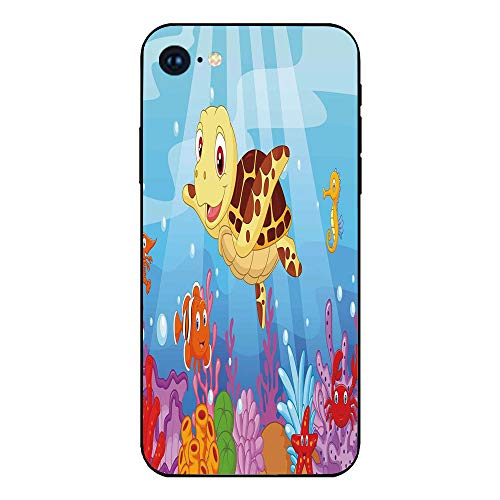 Phone Case Compatible with iphone7 iphone8 mobile phone covers phone shell Brandnew Tempered Glass Backplane,Turtle,Funny Adorable Cartoon Style Underwater Sea Animals Baby Turtle and Fish Collection, ()