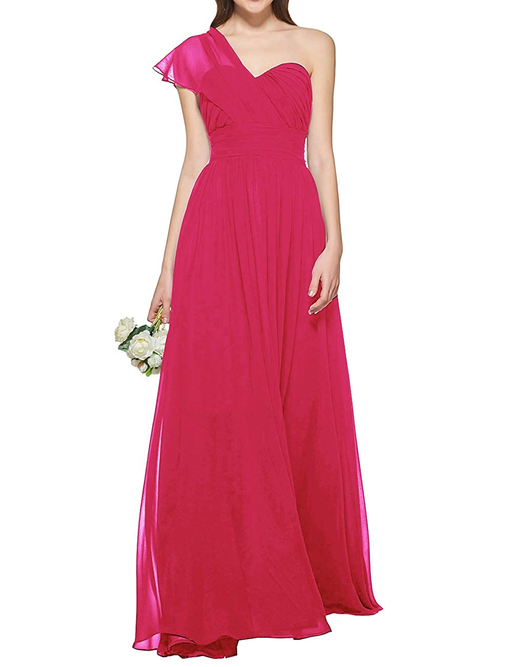 Hot Pink Uther Women's One Shoulder Bridesmaid Dress Long Prom Evening Gown A Line