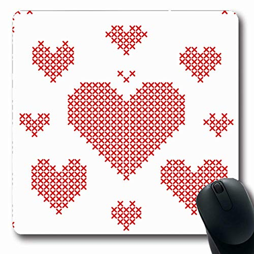 Ahawoso Mousepads Cross Red Abstract Stitch Hearts Different Vintage Canvas Craft Culture Design Kit Oblong Shape 7.9 x 9.5 Inches Non-Slip Gaming Mouse Pad Rubber Oblong ()