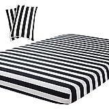 Vaulia Lightweight Microfiber Fitted Sheet, Stripe Pattern Design - Twin, Black/White Color