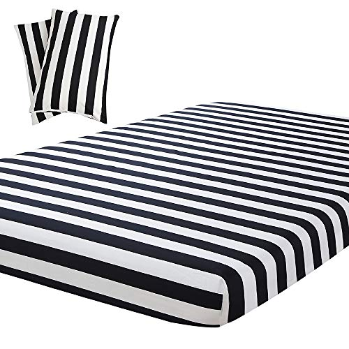 (Vaulia Lightweight Microfiber Fitted Sheet, Stripe Pattern Design, Black/White Queen Size, 3-Piece Set)