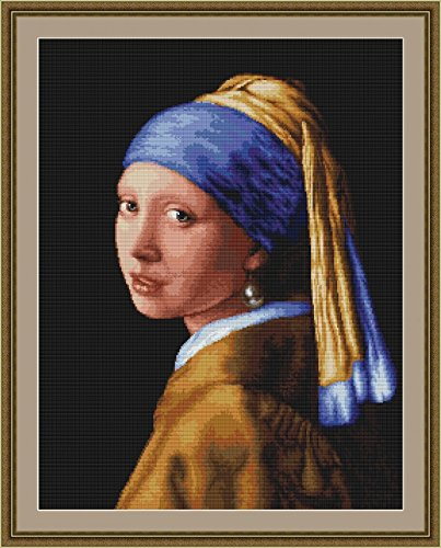 Luca-S Counted Cross Stitch Kit Lady with Pearl Earing
