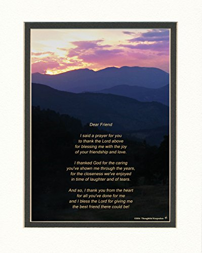Friend Gifts for Friend. Mts Sunset Photo with Thank You Prayer for Friend Poem. 8x10 Double Matted. Great Friendship Gift or Best for Birthday or Christmas.