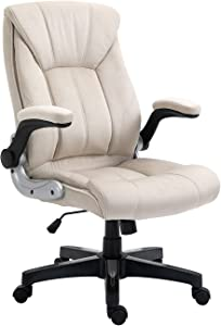 KERMS Ergonomic Executive Home Office Chair, High Back Swivel Computer Desk Chair with Flip up Arms and Height Adjustment (Beige - Fabric)