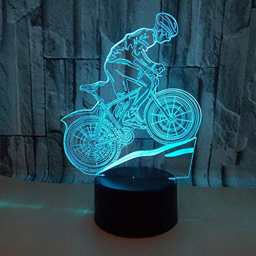 ZFKOB 3D Night Light Mountain Bike 3D Lamp Seven-Color Touch 3D Led Visual Table Lamps Riding Bike Night Table Moderne Desk Lamp