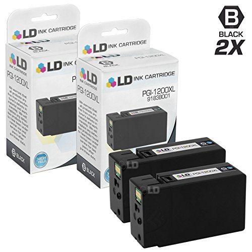 LD © Compatible Replacements for Canon PGI-1200XL / 9183B001 Set of 2 High Yield Black Inkjet Cartridges for use in Canon Maxify MB2020, and MB2320 Printers
