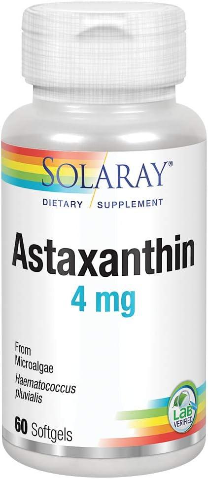 Solaray Astaxanthin 4 mg | Antioxidant | Healthy Eye, Skin, Cardiovascular Function & Joint Support | 60 Softgels