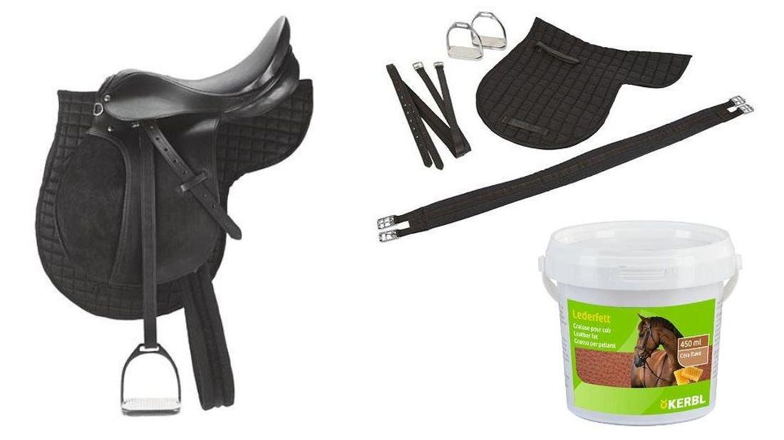 Sattel für Haflinger schwarz 125 cm 17,5 Satteldecke, Steigbügel, Steigbügelriemen, Sattelgurt und 1 Ltr Lederfett mit Bienenwachs
