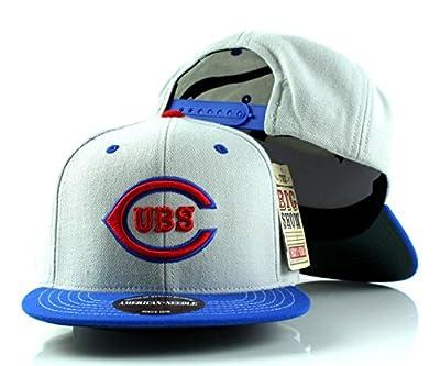 Chicago Cubs MLB American Needle The Big Show Baseball Wool Adjustable Snapback Hat (Gray/Blue)