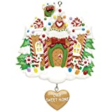 Personalized Our Sweet Home Christmas Ornament for Tree 2018 - Glitter Snow Garnished Candy-cane Gingerbread House with Dangling Heart New Door - 1st Elegant Front Mate Room - Free Customization