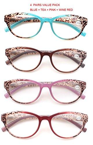 SOOLALA 4 Pairs of Stylish Readers Ladies' Quality Spring Hinge Reading Glasses, - To Where Stylish Buy Glasses Reading