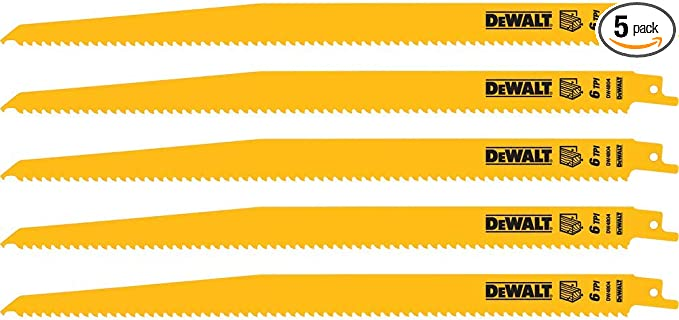 Dewalt Reciprocating Saw Blades Bi Metal 12 Inch 6 Tpi 5 Pack Dw4804 Amazon Com