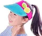Ababalaya Wide Brim Straw UPF 50+ Beach Travel Bow Sun Hats Visor For Kids Girls 3-8T,Blue Pompom